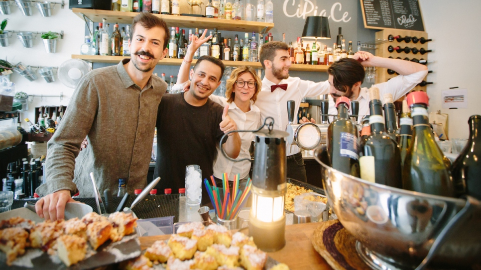 The owners of Cipiace in Brussels and chef Bilal Farajallah prepare to serve a Palestinian brunch.