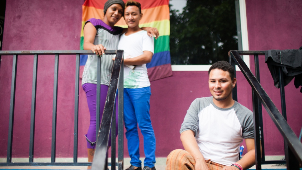 Carlos*, seated, and Electra*, left, with a friend outside the LGBTI accommodation at La 72, a refugee shelter in Tenosique, Tabasco, Mexico. (*Names changed for protection reasons)