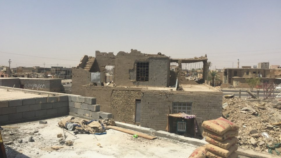 The neighbourhood in Al Aramil, Ramadi, has been extensively damaged.  Many houses were destroyed by exploding booby traps.