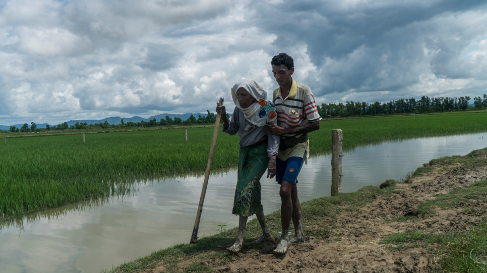A 70-year-old Rohingya refugee is helped by her son after crossing into Bangladesh from Myanmar on foot in September 2017.