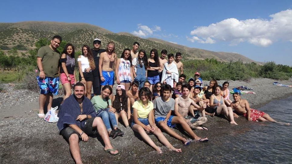 Displaced and refugee youth gathered at the spectacular Lake Sevan.