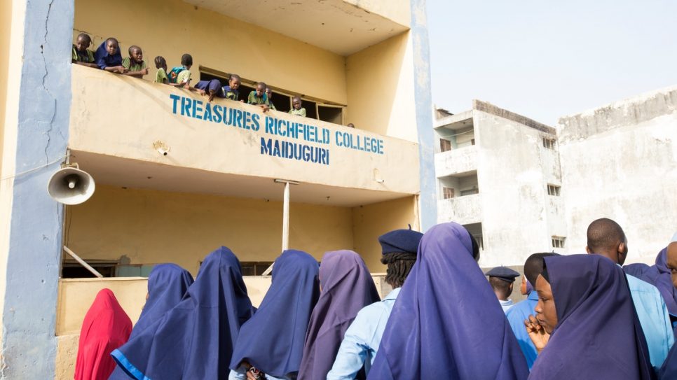 Students gather for morning assembly at Treasures Richfield College, Maiduguri, Borno State, Nigeria.