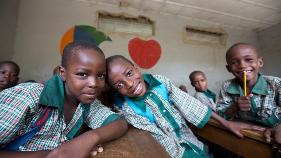 Ayuba Mustapha, 8, and his best friend Adam Alhaji, 8, and Abubakar Muhammed, 8, say they love learning at the Future Prowess Islamic Foundation School (I), Maiduguri, Borno State, Nigeria.