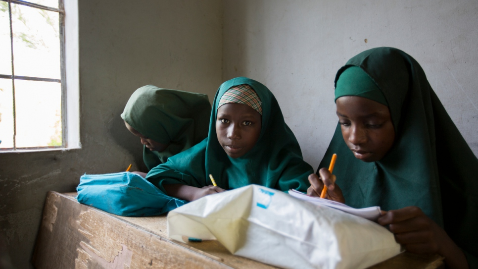 Girl students study in class 3A of the Future Prowess Islamic Foundation School (I), Maiduguri, Borno State, Nigeria.