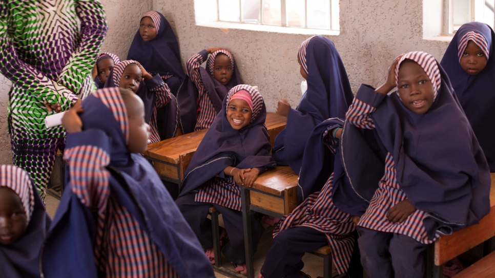 A class of girl students at the second of two Future Prowess Islamic Foundation Schools in Maiduguri.