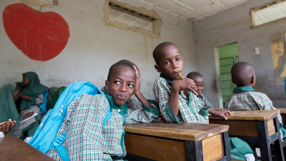 Adam Alhaji and Abubakar Muhammed, both 8, are good friends and enjoy studying at the Future Prowess Islamic Foundation School (I) in Maiduguri.
