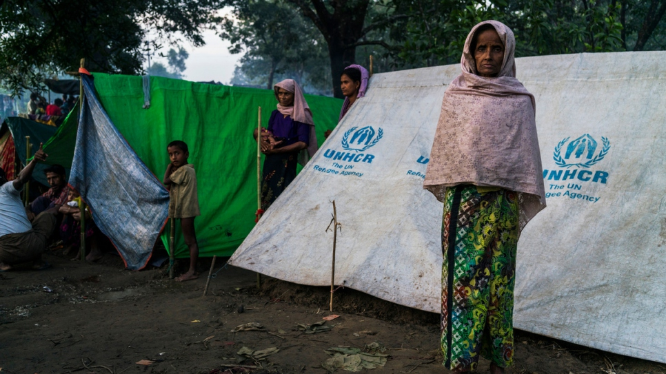 After fleeing violence in Myanmar, a Rohingya woman stands outside her tent at an informal settlement for new arrivals, near Kutupalong camp in Bangladesh.
