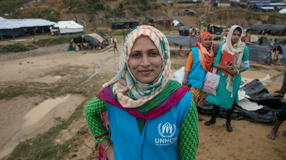 Shirin Aktar UNHCR protection officer on location at Kutupalong camp.