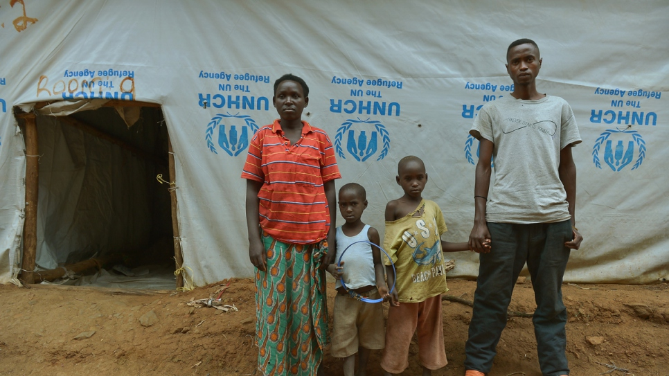 Charlene and her family at Nyanza reception centre in southern Rwanda.