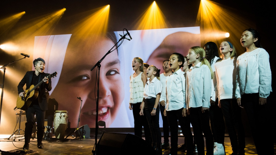 Japanese singer-songwriter and guitarist, Miyavi, performs with the Geneva International School Choir and the Neon Quartet at a glittering 2017 Nansen Award ceremony.