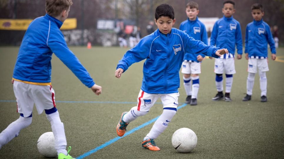 """I couldn't play football in Syria, but here I can play whenever I want."" Eight-year-old Syrian refugee Ahmad Alzaher takes part in a trial for Bundesliga club Hertha in Berlin, Germany."