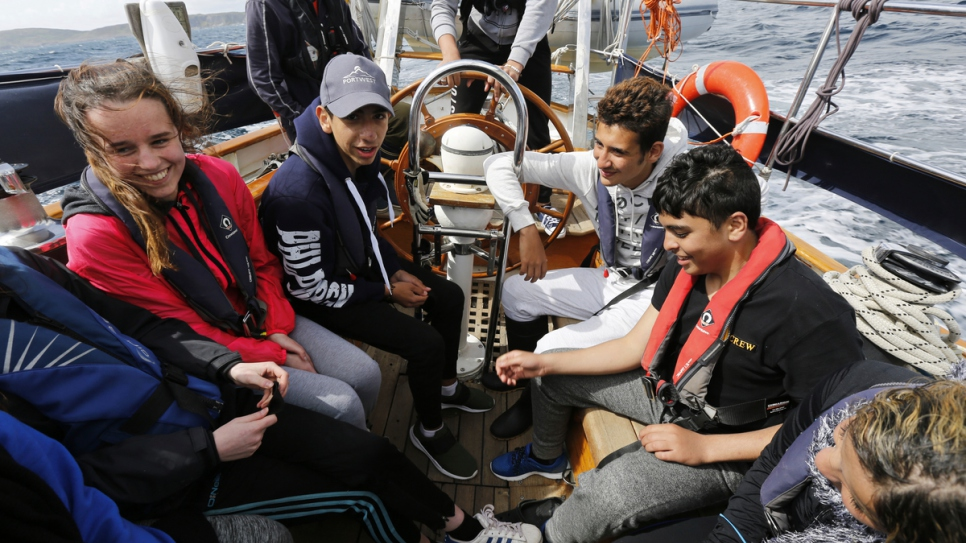 Teenagers from Syria and Ireland learn to sail together off the coast of West Cork, Ireland. The teens, who all live in Ballaghaderreen in County Roscommon, are learning sailing skills as well as teamwork.