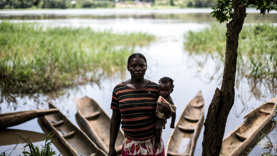 Chantal, 29, a Central African refugee, with the youngest of her three children.