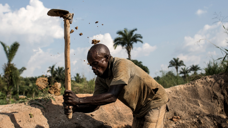 Kadima Kabenge, 28, fled the Kasai region and his job in a diamond mine.