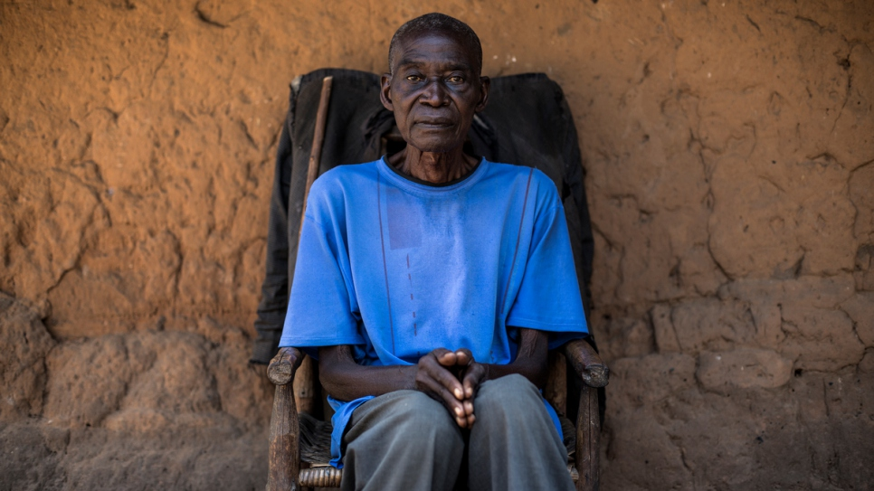 Mathieu Buende, 71, fled Kasai province with six children. The walk caused his feet and legs to swell.