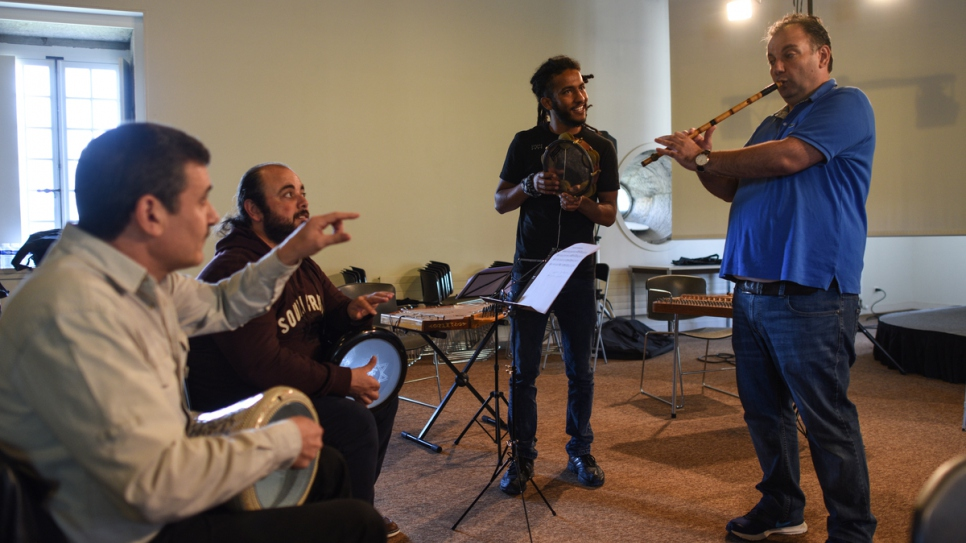 The Orpheus XXI orchestra rehearses, led by Syrian ney-player Moslem Rahal, at the UNESCO-listed Royal Saltworks at d'Arc-et-Senans.