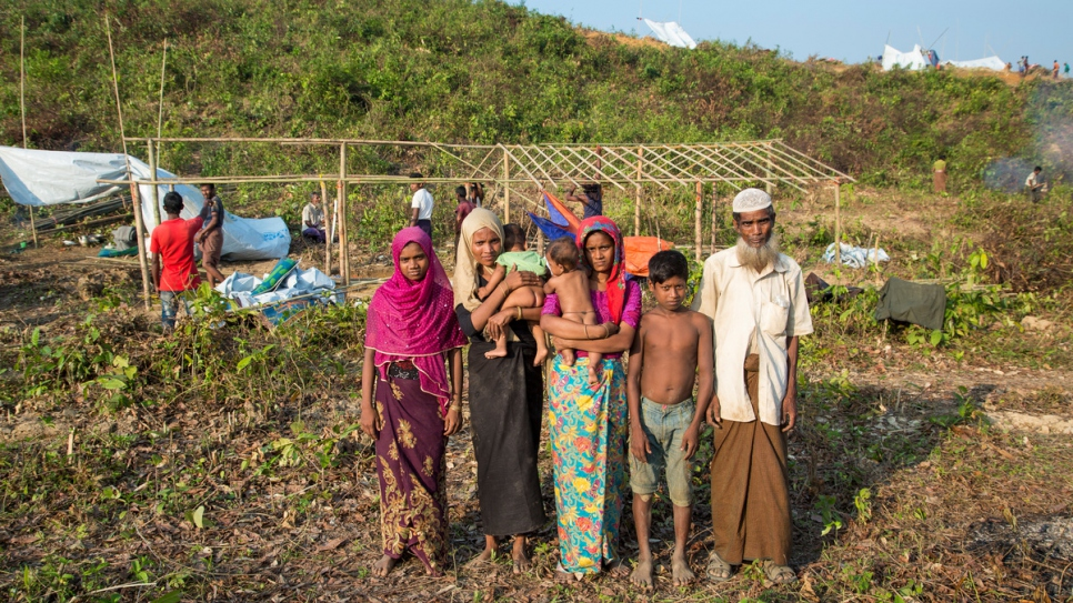 Naju Miya, 60, and his son and daughter, and two nieces and their three children, were relocated by UNHCR to Kutupalong Extension.