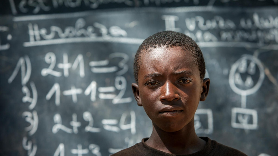 """When it's windy, the branches fall and when the sun is strong it's too hot,"" says Irahoze, 14, who fled Burundi. ""Sometimes we have to stop classes."""