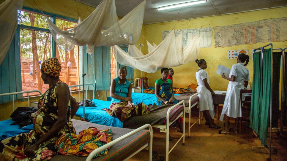 A maternity ward struggles to meet demand at Nyarugusu camp's main hospital.