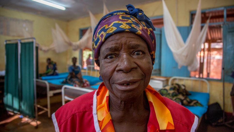 Ebinda Nyota, 62, escaped war in the DRC and now works at the hospital.