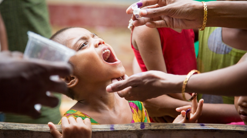 Oral cholera vaccines are given to Rohingya refugees in Cox's Bazar, Bangladesh.
