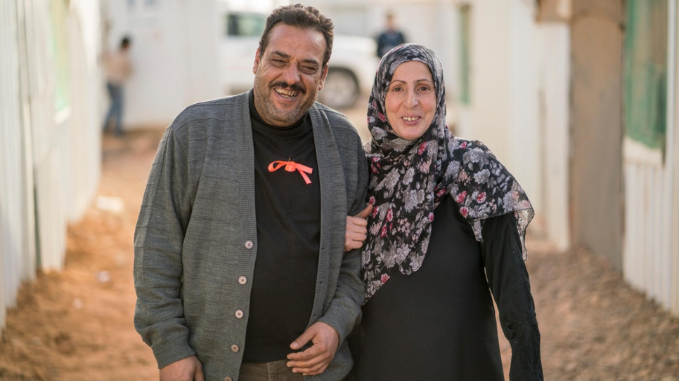Ehsan Al Khalili, a Syrian refugee from Damascus, and his wife Rabab outside their shelter in Jordan's Azraq refugee camp.