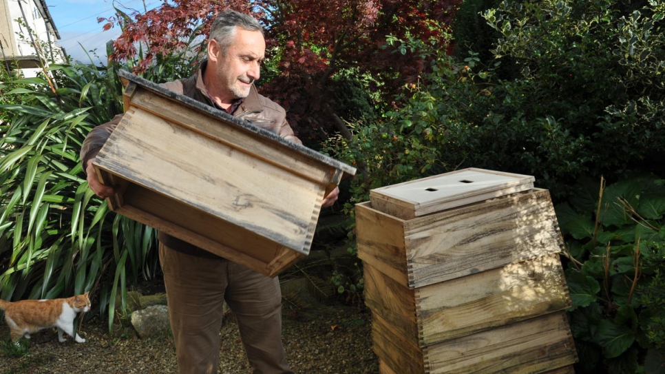 ​Beekeeper Ryad Alsous with the hive he uses for demonstrations.