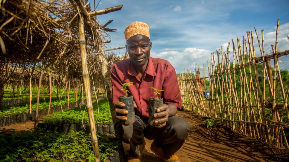 Abdu Ali, 42, works at a tree nursery project for the Tanzanian host community.