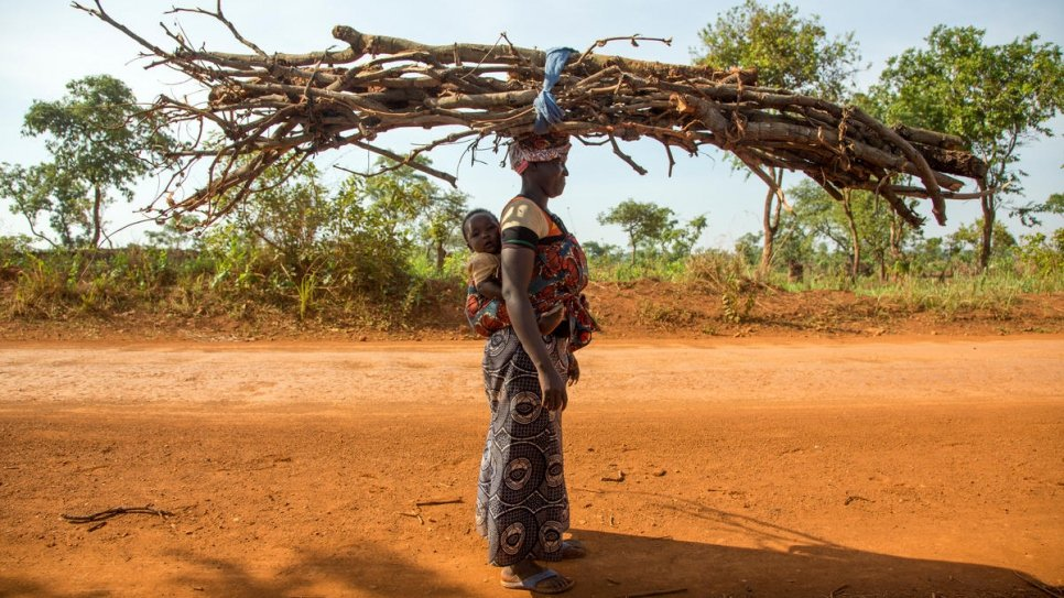 Burundian refugee Hasfasimana, 25, carries firewood back to camp.
