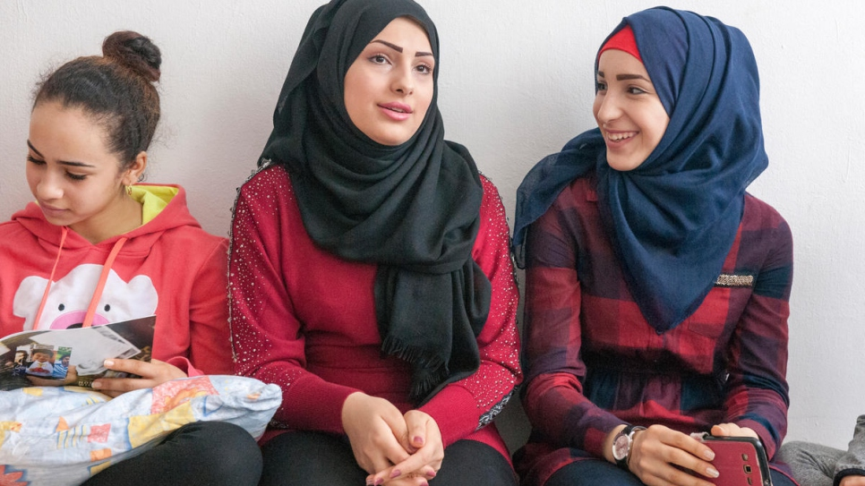 Three of the seven Al-Bashawat's girls (from left) Hadeel, 15, Abeer, 20, and Ghadeer, 17. Ghadeer wants to be a nurse, while Abeer will soon marry a fellow Syrian living in Austria.