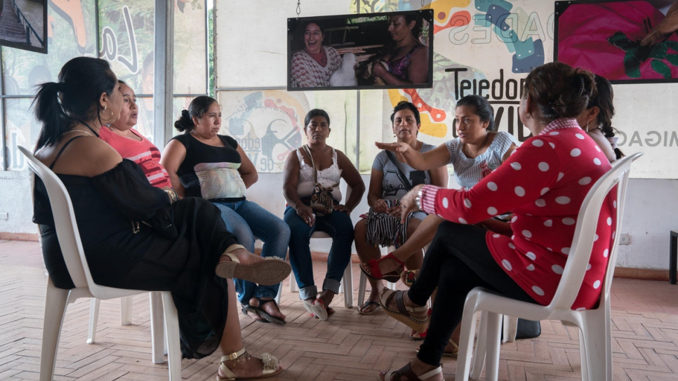 A group discussion at the headquarters of the Life Weavers Women's Alliance in Mocoa, Colombia. Participants work through issues of abuse inflicted on women displaced by the armed conflict and free counselling is provided.