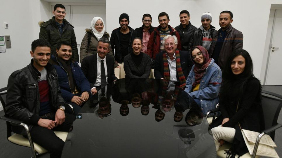 Syrian students with Laurent Grosclaude (dark tie) and education campaigner Samir Aita (red scarf).