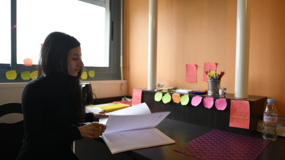 Amera Omar in her room in the university hall of residence in Toulouse. After a one-year foundation course in the French language, she hopes to study economics.