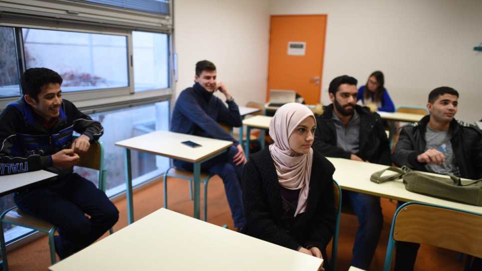 A group of Syrian students at the Paul Valéry University in Montpellier, which is also taking part in the scholarship scheme for Syrian refugees.