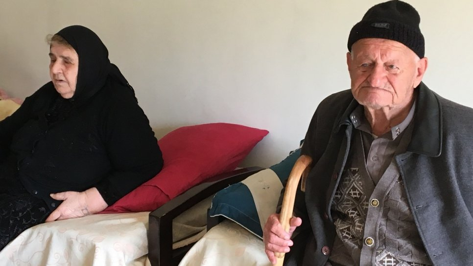 Mirna's mother-in-law, Faheemah, 82, and father-in-law, Gorgis, 83, have a hard time leaving the apartment in Beirut due to their health.