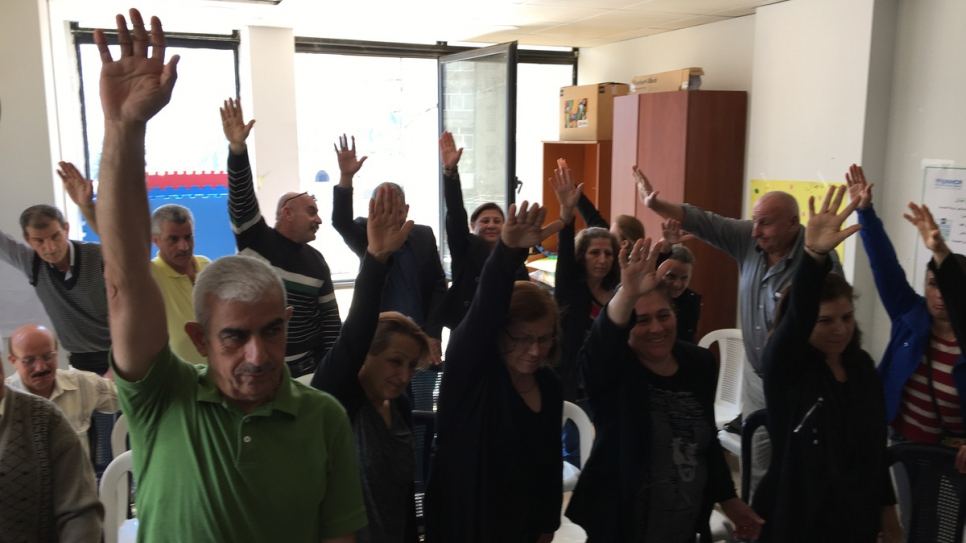 Iraqi refugees in Lebanon attend a day centre in Beirut run by the charity Caritas.