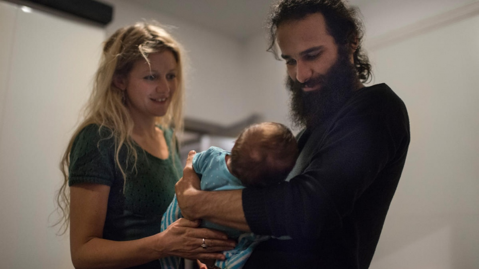 Hussein and Juliette, with their two-month-old daughter Ellea.