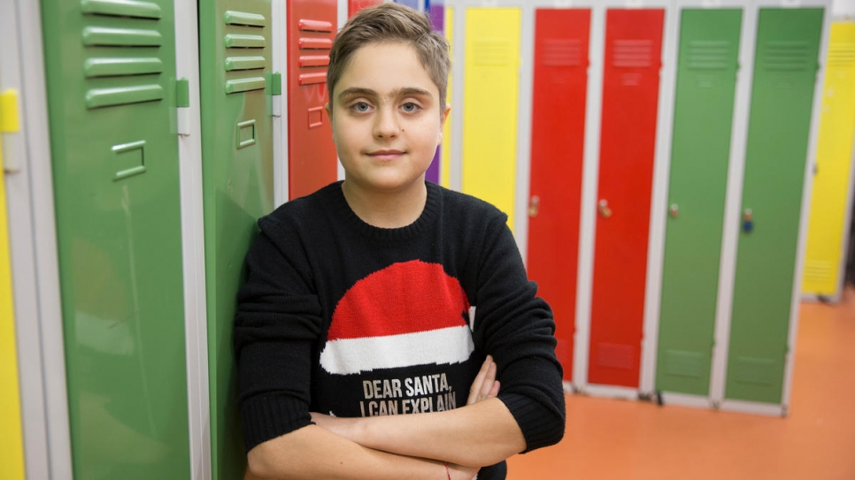 Syrian refugee Michel Barakat, 14, speaks three languages, including Czech, and loves learning others.