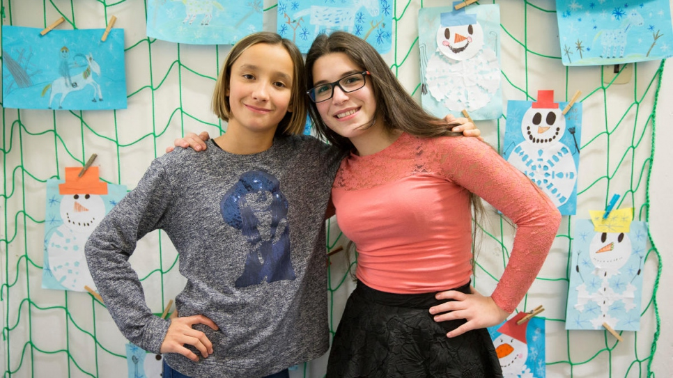 Fourteen-year-old Syrian refugee Natalia Rami Haddad (right ) and her friend Natalie Sembdnerova, 12, are students at  Bohuslav Balbin Episcopal Gymnasium in Hradec Kralove, Czech Republic.