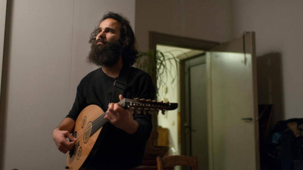 Far from his family, friends and culture, Hussein has found joy in music once more.