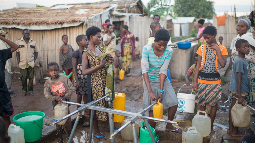 Burundian refugees collect water at Lusenda camp in the Democratic Republic of the Congo.