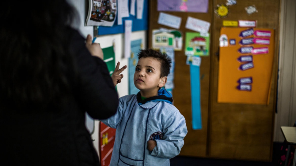 Mohammad attends lessons at the Father Andeweg Institute for the Deaf (FAID) on the outskirts of Beirut in Lebanon.