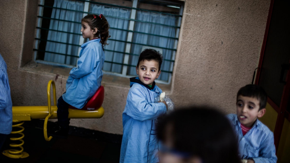 Mohammad plays with his classmates at the Father Andeweg Institute for the Deaf (FAID) on the outskirts of Beirut in Lebanon.