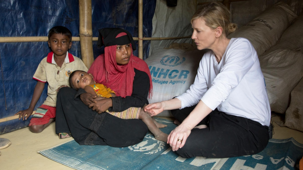 UNHCR Goodwill Ambassador Cate Blanchett meets 28-year-old Jhura who fled Myanmar with her two children when her village was attacked six months ago.