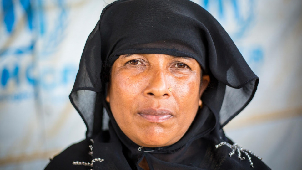 Rehena Begum, 45, pictured at a UN Refugee Agency Information Point at Kutupalong refugee settlement, Bangladesh.