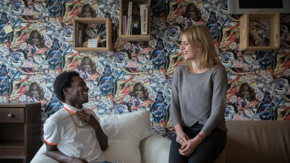 Jamaican refugee Adrian Laidley, 23, met Amber Borra, 26, a psychology student who helped him learn Dutch.