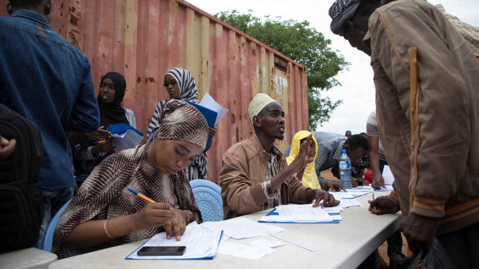 UNHCR staff register newly arrived refugees at a camp in Sololo, Marsabit County in  Kenya.