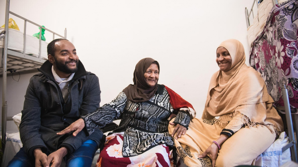 Fadumo Nour Zein, 81, sits between her daughter Fatima and grandson Ali. Fadumo had lost touch with Fatima when she fled Somalia in 1991.