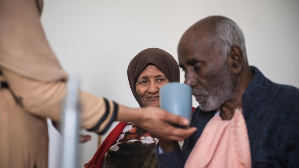 Fadumo Nour Zein, 81, and her husband Ali, 85, fled Mogadishu in 2008 and became refugees in Syria. Three years later, war displaced them again.