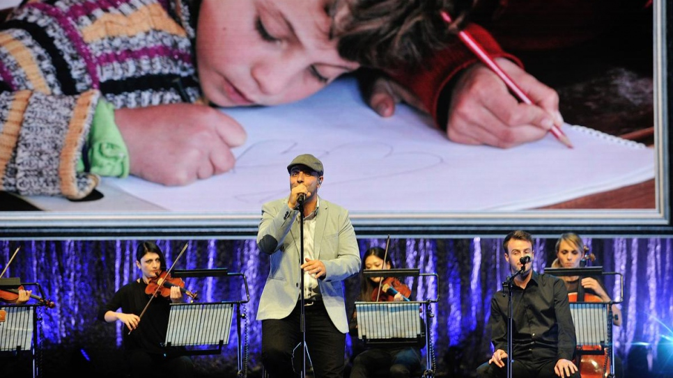 Swedish-Lebanese singer-songwriter Maher Zain performs a new song entitled 'One Day' at the 2014 Nansen Refugee Award ceremony.